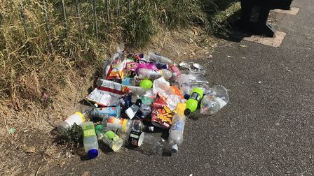 A pile of the litter that Lee Harris and his sons collected at the skate park despite two bins in th