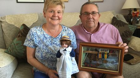 Caroline and Terry Gregory, Newton Poppleford History Group and the doll from France