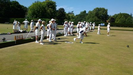 Sidmouth bowler Eileen Hewett in action during the match at Weston.