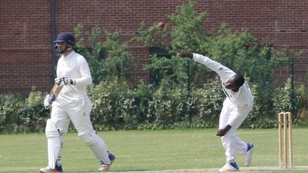 Sidmouth spinner Aviwe Mgijima in action during the win over Exeter. Picture GERRY HUNT