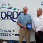 David Wheaton and Aaron Patch from Fords South West Ltd with their award.