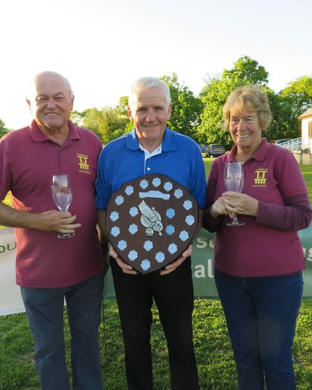 John Thatcher presenting the Charity Shield to Ged and Ann Barton