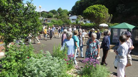 Visitors enjoying Sidmouth's new sensory garden