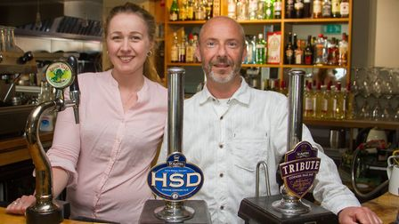 New Railway Inn owners Paul Greenhead and Beth Cowley. Ref mhh 21 18TI 3915. Picture: Terry Ife