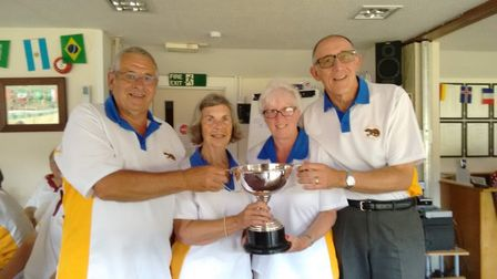 Ottery St Mary bowlers Richard Bland, Carol Keating together with Eileen and Leighton Burston after