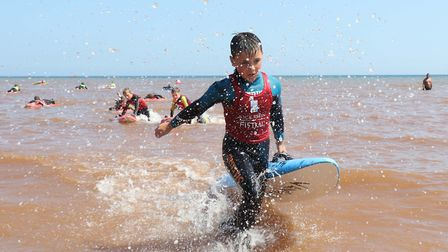 Sidmouth Surf Lifesaving Club Longest Day. U12 race. Picture: Simon Horn