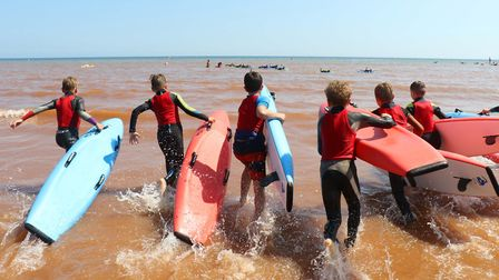 Sidmouth Surf Lifesaving Club Longest Day. U12 board race start. Picture: Simon Horn