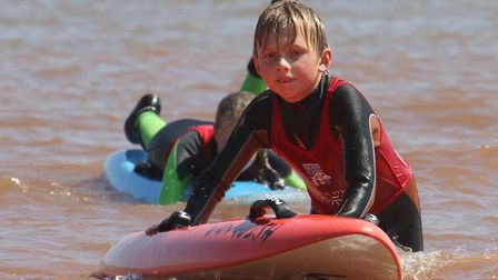 Sidmouth Surf Lifesaving Club Longest Day. U10 competitor. Picture: Simon Horn