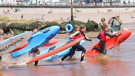 Sidmouth Surf Lifesaving Club Longest Day. Start of U10. Picture: Simon Horn