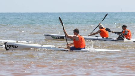 Sidmouth Surf Lifesaving Club Longest Day. Start of ski race. Picture: Simon Horn