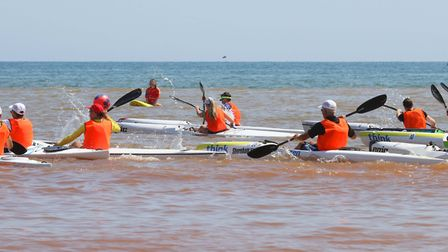 Sidmouth Surf Lifesaving Club Longest Day. Start of ski race 3. Picture: Simon Horn