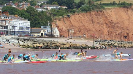 Sidmouth Surf Lifesaving Club Longest Day. Longest Day - board U15 and 17 youth race. Picture: Simo