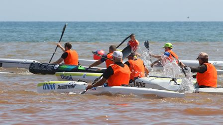 Sidmouth Surf Lifesaving Club Longest Day. Start of ski race 1. Picture: Simon Horn