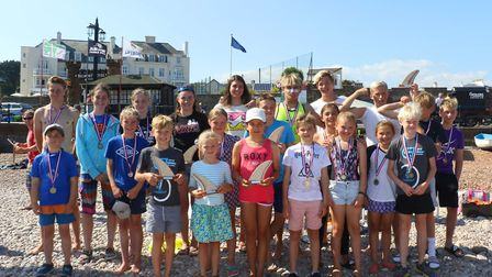 Sidmouth Surf Lifesaving Club Longest Day.The youth medallists. Picture: Simon Horn