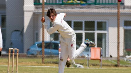 Max Hancock bowling for Sidmouth against Exmouth. Ref shsp 27 18TI 6802. Picture: Terry Ife