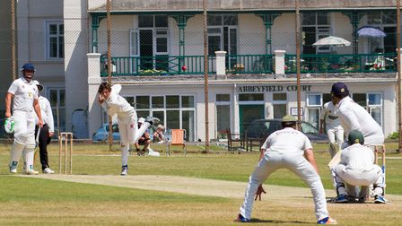 Max Hancock bowling for Sidmouth against Exmouth. Ref shsp 27 18TI 6799. Picture: Terry Ife