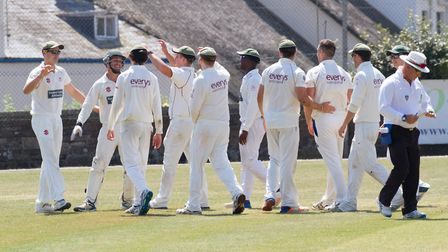 Celebrating a wicket for Sidmouth against Exmouth. Ref shsp 27 18TI 6887. Picture: Terry Ife