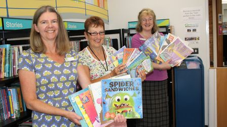 Elaine Mitchell, Carol Pentecost and Sarah Richards at Sidmouth Library