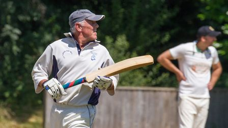 Barry Flicker batting for Ottery 2nds at home to Sampford Peverell & Tiverton. Ref shsp 28 18TI 7485