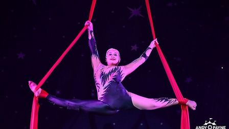 Aerial performer at John Lawson circus, picture by Andy Payne