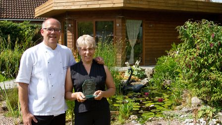 Andy and Annette Witheridge of The Salty Monk with their Sid Valley Business award. Ref shs 28 18TI
