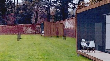 Glamping cabins proposed for the walled garden