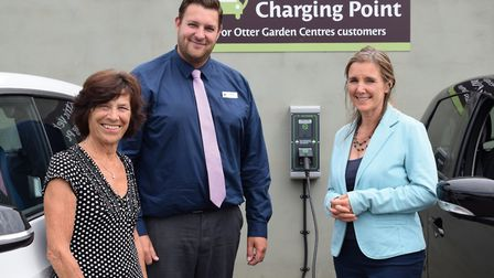 Otter Garden Centres founder Marilyn White, Operations Manager James Billington and SOL Electrical P