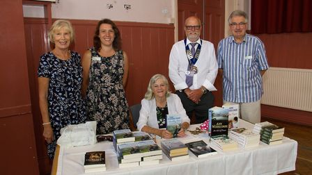 Ann Widdecombe at the Institute in Ottery with Tricia Doherty,Xanthe White,Cllr Paul Bartlett and Da