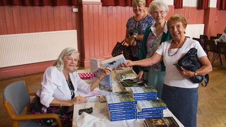 Ann Widdecombe at the Institute in Ottery signing books before her talk . Ref sho 28 18TI 7781. Pict