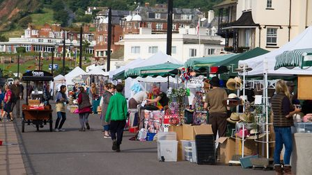Stalls on the Esplanade during Sidmouth Folk Week. Ref shs 32 17TI 9140. Picture: Terry Ife