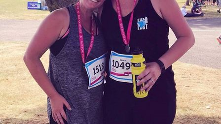 Sidmouth Running Club members Jenny and Laura Broughton at the Race for Life held at Westpoint, Exet