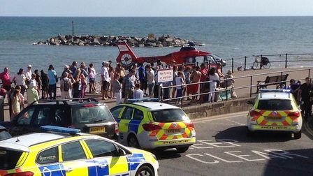 The air ambulance was called to Sidmouth seafront. PICTURE: Mark Eburne