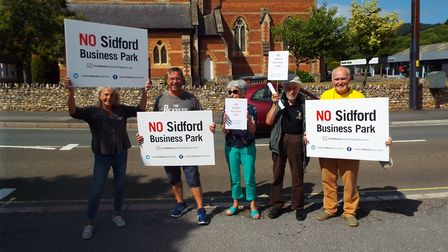 Protestors make their feelings known to say 'no' to development at Sidford. PICTURE: Clarissa Place/