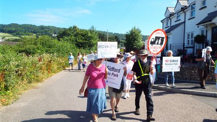 Protestors make their feelings known to say 'no' to development at Sidford. PICTURE: Thomas Galli