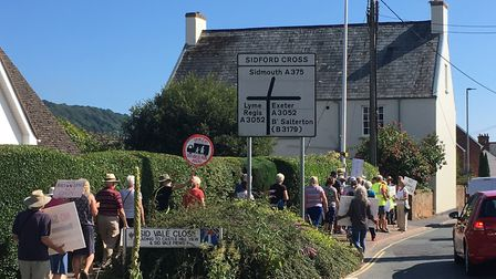 Protestors make their feelings known to say 'no' to development at Sidford. PICTURE: Clarissa Place