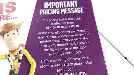 The new Argos catalogue warns about Brexit's impact on catalogue prices. Photograph: Retail Week/Twi