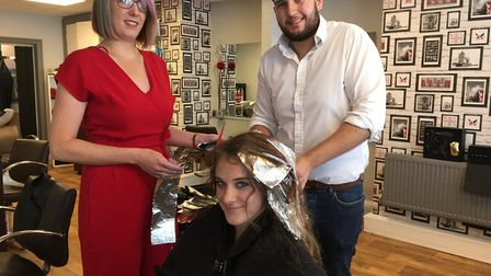 Helen Pike (l) and Sam Pearson with client Ellie Chadwick at the Salon at Sidmouth. PICTURE: Clariss