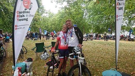 Sidmouth Running Club members Becky and Ian Robson at the Prudential Ride London Surrey 100 bike rac