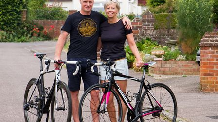 Becky and Ian Robson before their cycle ride for CRY. Ref shs 29 18TI 7908. Picture: Terry Ife
