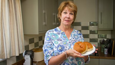 Denise Bakewell at home with some teacakes. Ref shs 31 18TI 9100. Picture: Terry Ife