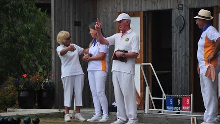 Ottery St Mary bowls action from a recent visit to Chagford