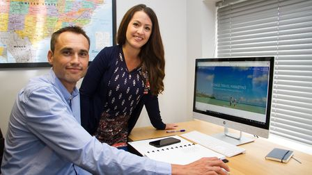 Andrew May and Jessica McDonald of Voyage Travel Marketing. Ref shs 30 18TI 8873. Picture: Terry Ife