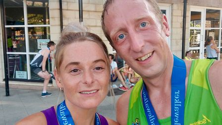 Sidmouth Running Club members Antony and Kat Hall after they had completed the Straight Eight race