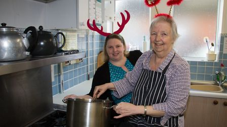 Emma and Lynn Donovan are putting on a Christmas lunch at St Teresa's hall in Sidmouth. Ref shr 50 1