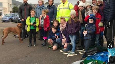 Members of the newly formed Sidmouth Plastic Warriors group met for their first beach clean