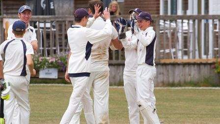 Ottery celebrate a wicket against Kentisbeare. Ref shsp 31 18TI 8943. Picture: Terry Ife