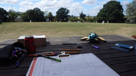 The veiw from the scorers position at an East Devon cricket ground