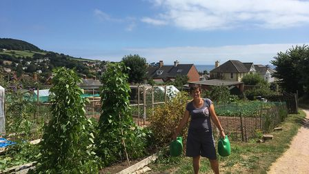 Ruth Rose at Peaslands allotments in Sidmouth