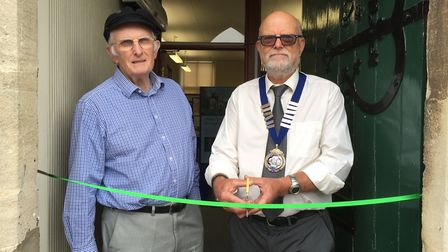 Robert Neal, chairman of the heritage society, with Mayor Paul Bartlett as he declares the new herit