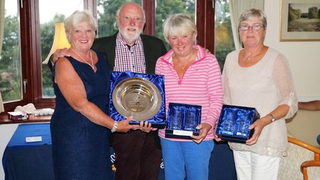 Sidmouth President's prize meeting and the ladies winning team of Sheila Faulkner, Marie Timms and Y
